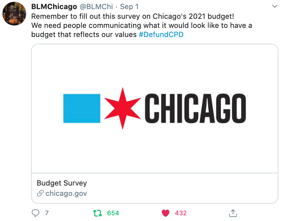 BLMChi Action: Fill out Chicago City Budget Survey