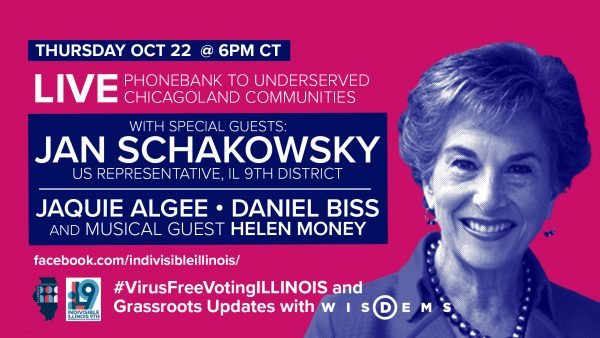 Jan Schakowsky, Daniel Biss, Jaquie Algee and Helen Money join Indivisible to get out the vote