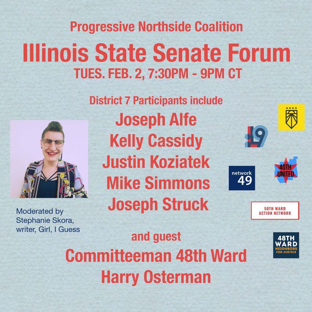 Progressive Northside Coalition Illinois State Senate Forum 2-2-2021