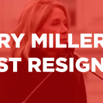 white text on red background says Mary Miller must resign